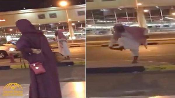 """بالفيديو: واعظ سعودي يرمي فتاة بحذائه ويشتمها: """"يا زانية"""""""