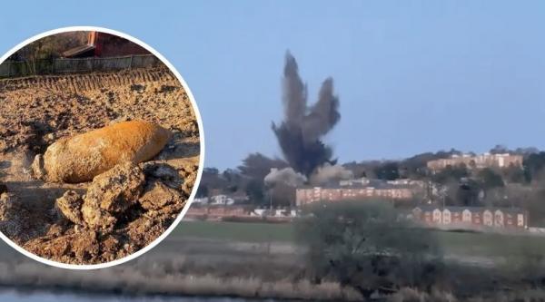 لحظة تفجير قنبلة من الحرب العالمية الثانية تسببت في اضرار كارثية للبنايات(فيديو)