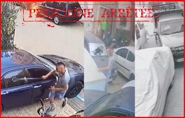 """أمن البيضاء يتفاعل مع فيديوهات لشخص """"هائج"""" يكسر سيارات بواسطة سلاح أبيض"""