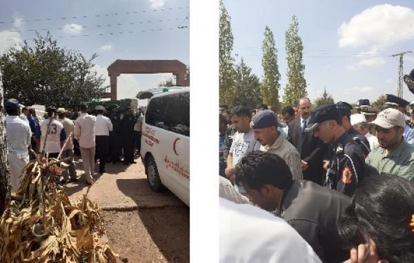 """جنازة مهيبة للشرطي ضحية حافلة """"الراشدية"""" يتقدمها والي أمن بني ملال والكاتب العام للعمالة"""