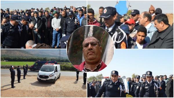 والي أمن بني ملال ومسؤولون كبار في الأمن يتقدمون جنازة ضابط الشرطة الذي وافته المنية في طريقه لأداء صلاة الفجر  (صور)