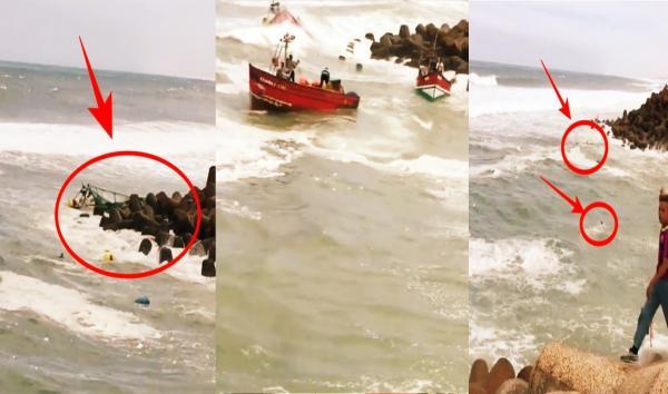 بالفيديو : عمل بطولي لشبان أنقذوا صيادين من موت محقق بعد غرق قاربهم التقليدي
