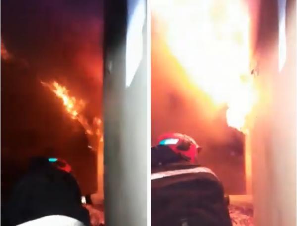 لحظات تدخل بطولي لاخماذ حريق كبير داخل منزل ببني ملال