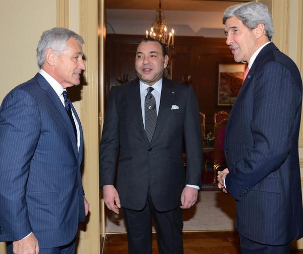 الملك محمد السادس يتباحث مع كيري وهيغل قبل لقاء أوباما يوم غد الجُمعة ( صور )