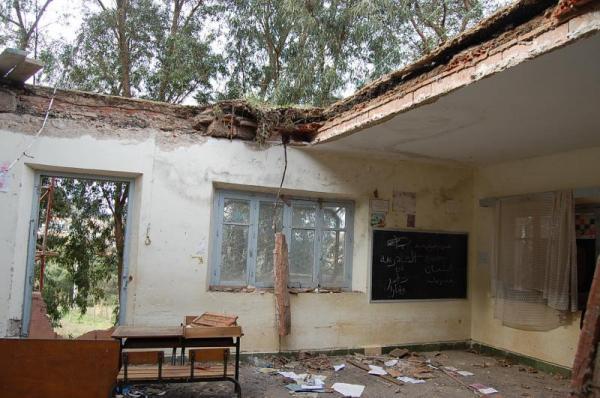 بالفيديو ... انهيار سقف فصل دراسي على التلاميذ بالناضور