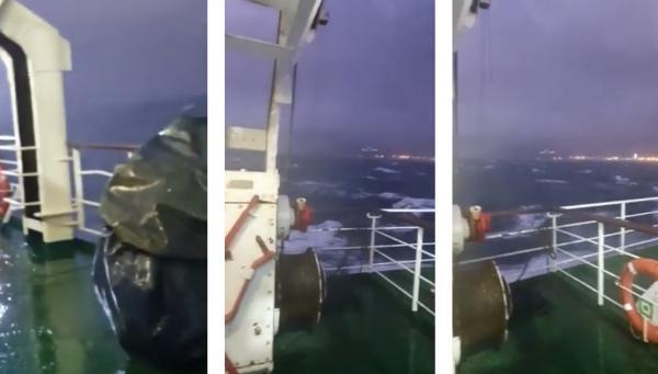 بالفيديو... سائقو النقل الدولي للبضائع يعيشون لحظات مُفزعة بسبب الأمواج العالية والرياح القوية بالبحر قرب ميناء طنجة