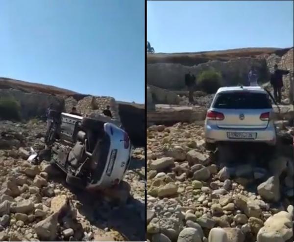 نجاة سائق بأعجوبة من موت محقق في حادث انقلاب سيارة بمنعرج خطير بالجديدة