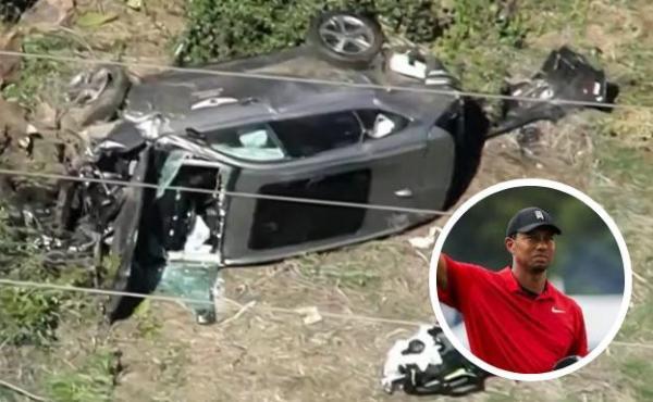 """بالفيديو: أسطورة الغولف الأمريكي """"تايغر وودز"""" يتعرض لحادث خطير"""