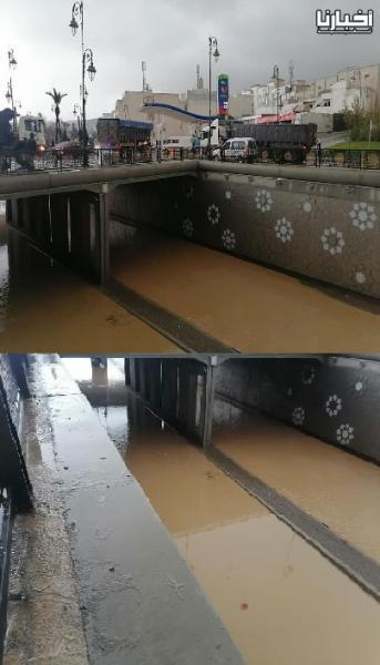 أنفاق الطرق الرئيسية بتطوان تتحول الى برك مائية بسبب الامطار الغزيرة !!