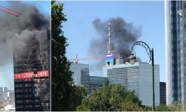 أسبوع الكوارث..اندلاع حريق ضخم ببرج مركز التجارة ببروكسيل (فيديو)