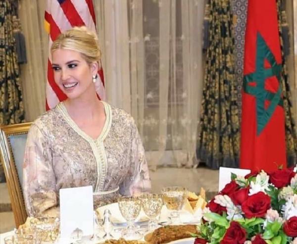 """ظهور مميز ل""""إيفانكا ترامب"""" بالقفطان المغربي في مأدبة العشاء الملكية (صور وفيديو)"""