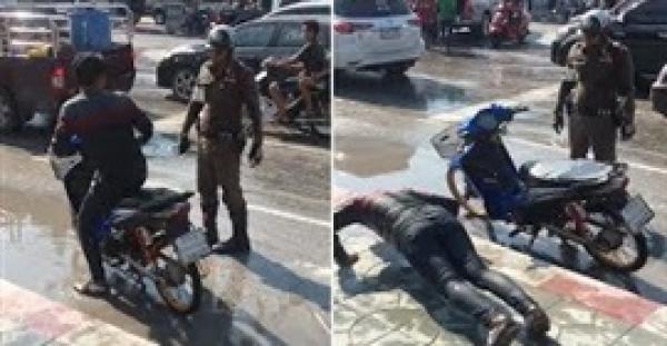 ضابط مرور يعاقب سائقا مخالفا بتمرينات ضغط بدل الغرامة (فيديو)