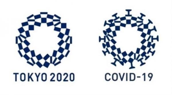 رسم ساخر لفيروس كورونا مستوحى إلى حد كبير من شعار دورة الألعاب الأولمبية في طوكيو