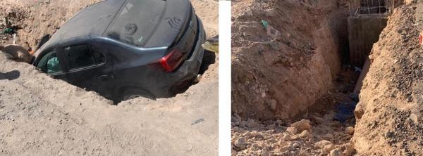 بالصور ... سقوط سيارة داخل حفرة بطريقة مثيرة بضواحي أكادير