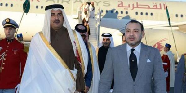 أمير دولة قطر يقيم حفل استقبال رسمي على شرف الملك محمد السادس