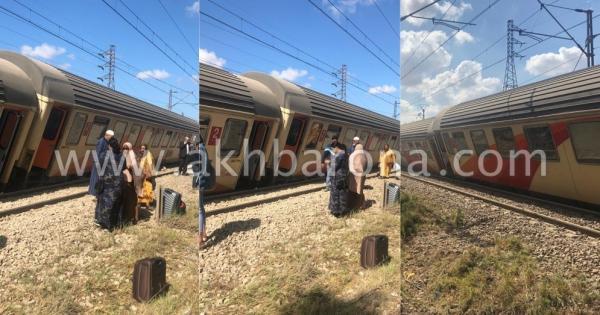 """بالصور: انحراف """"قطار"""" قادم من مراكش صوب الدار البيضاء والسبب حالة انتحار!"""