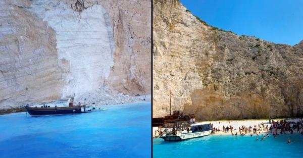 بالفيديو: انهيار جرف صخري على سياح في اليونان