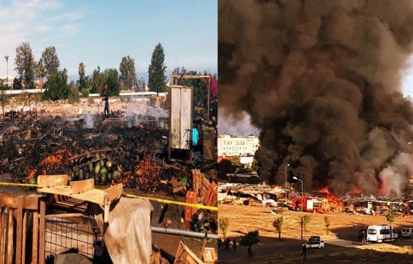 """بالصور : حريق مهول يأتي على """"جوطية"""" في قلب تمارة والحادث يطرح أكثر من علامة استفهام"""