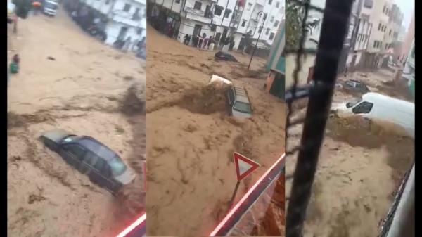 """بالفيديو والصور: أمطار رعدية """"تُغرق"""" شوارع تطوان والسيول تجرف سيارات المواطنين (مشاهد قوية)"""