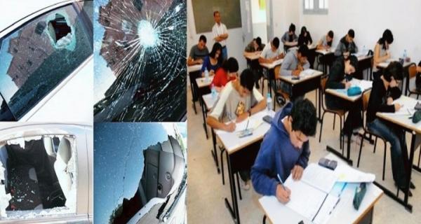 خطير..تلاميذ يرشقون الأساتذة بالحجارة ويكسّرون سيارتهم بعد منعهم من الغش في الامتحانات