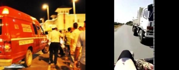 """بالفيديو: شاحنة مجنونة تتسبب في انقلاب """"بيكوب"""" على متنها تلاميذ عائدون من المدرسة بضواحي سيدي قاسم"""