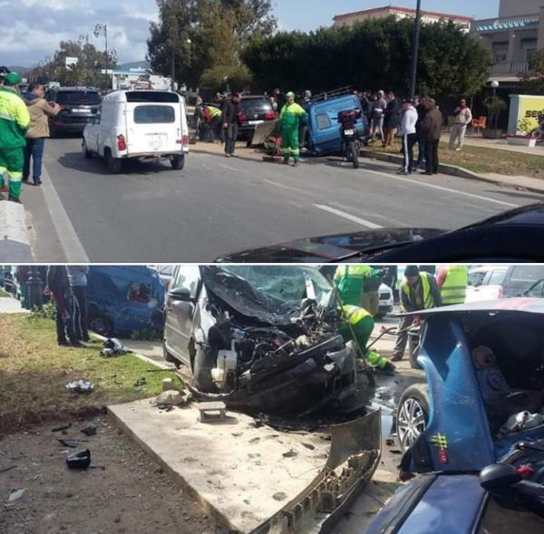 بالفيديو : حادثة سير خطيرة بتطوان بعد اصطدام ثلاث سيارات