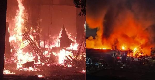 حريق مهول يلتهم سوق الصالحين بسلا (فيديو+صور)