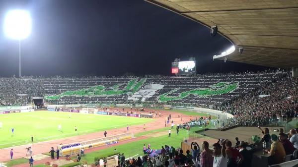 التيفو الرائع لجمهور الرجاء في مباراة هلال القدس الفلسطيني