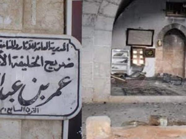 """بالفيديو...ميليشيات شيعية تنبش قبر الخليفة """"عمر بن عبد العزيز"""" بسوريا وتسطو على محتوياته"""