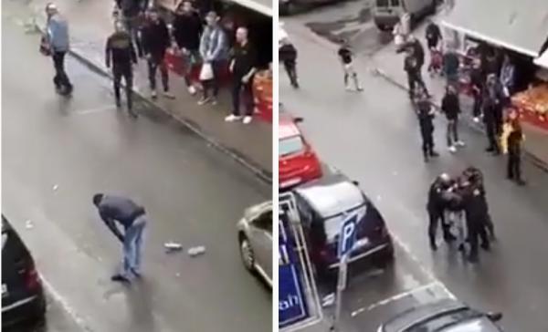 تشويه لصورة الاسلام ببلجيكا : تونسي يصلي وسط الطريق قبل أن يتم اعتقاله من قبل الشرطة