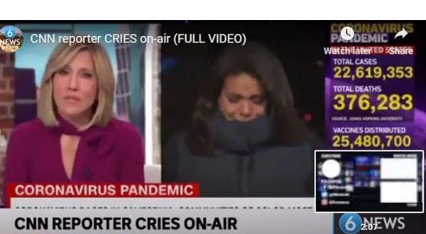 بسبب وفيات كورونا الصاروخية: انهيار مراسلة أمريكية بالبكاء على المباشر