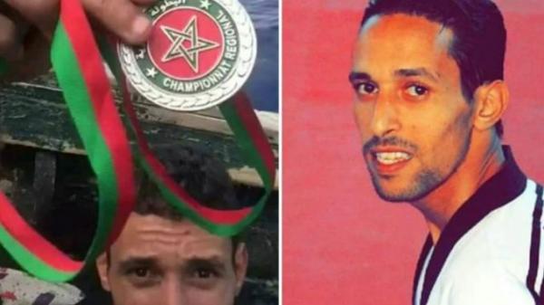 """بالفيديو : بطل مغربي في """"التايكواندو"""" يختار """"الحريك"""" و يرمي بميدالياته من فوق قارب الموت"""