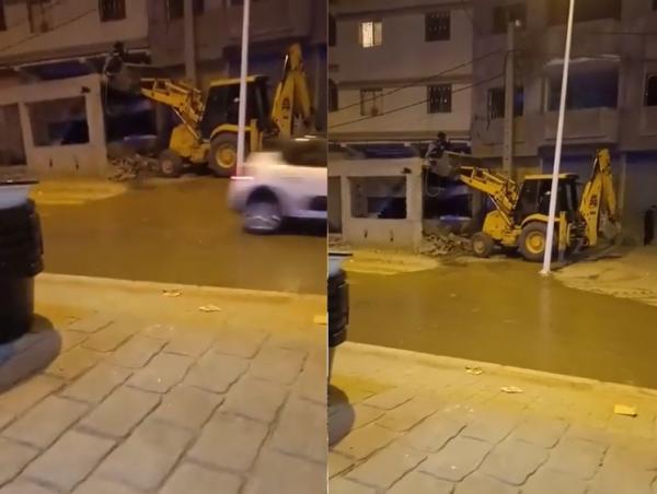 سلطات شفشاون تهدم مقهى البرلماني المشيد بالشارع العام