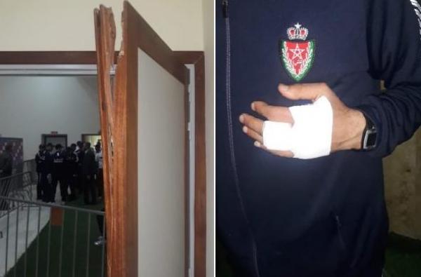 الشرطة تتعرض لإعتداء همجي من طرف لاعبي الصفاقسي التونسي (صور)