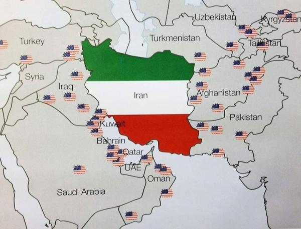 صورة توضح عدد القواعد العسكرية الأمريكية في الشرق الاوسط
