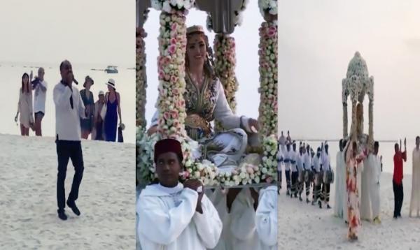 """بالفيديو: نجلة دبلوماسي مغربي تقيم """"حفل زفاف"""" أسطوري فوق رمال شاطئ بالمالديف بحضور فنان مغربي معروف"""