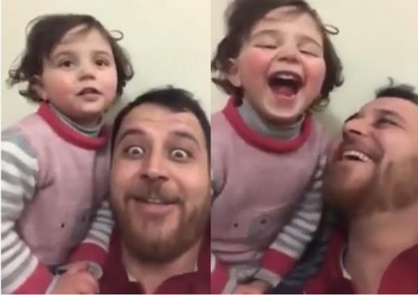 للتغلب على الخوف ...أب سوري يعود ابنته على الضحك عند سماع صوت القذائف