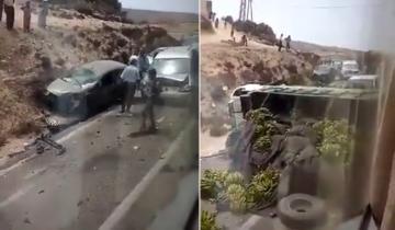 حادثة سير مروعة بين شاحنة محملة بالموز و عدد من السيارات بين الصويرة وأكادير