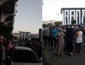 مظاهرة في طنجة بني مكادة بسبب إغلاق المحلات التجارية