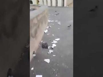 حالة مزرية وأزبال تحيط بساحة مسجد الحسن الثاني بالبيضاء