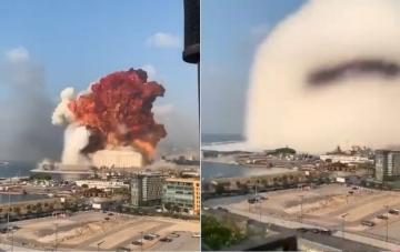 مشهد مرعب ... شاهد لحظة الانفجار الكبير الذي هز بيروت اليوم
