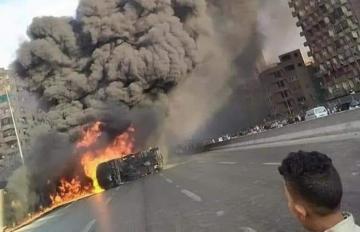 إصابة شخصين وتفحم 7 سيارات جراء حادث على الطريق الدائري بالعاصمة المصرية القاهرة