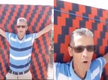 مواطن يكبل نفسه امام باشوية كلميمة و يطالب بانصافه بعد اقصاء ابنته من المنحة