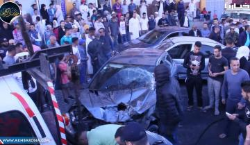 """شاهد ..""""رموك"""" يصطدم بـ6 سيارات قبل الإفطار بسطات"""