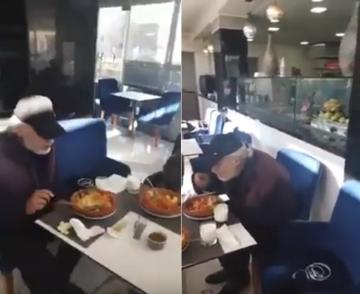 الفنان عبد القادر مطاع يفند إشاعة موته ويظهر بأحد المطاعم يتناول وجبة الغذاء