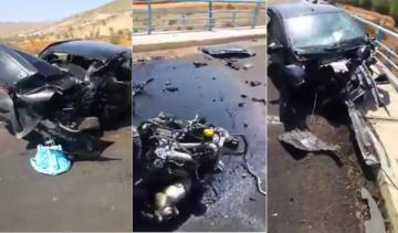 نجاة سائق سيارة بأعجوبة في حادثة سير مروعة نواحي الحسيمة
