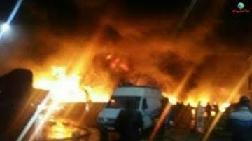 حريق مهول بسوق الجملة للخضر والفواكه بالدار البيضاء