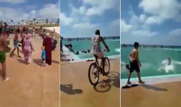 شوهة افتتاح المسبح الكبير بالرباط : مراهق يرتمي بدراجته داخل الماء
