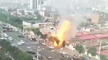 لحظة انفجار غاز في مطعم في الصين