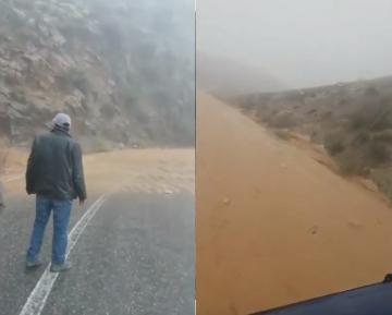 فيضان واد يغمر طريق بين تيغمي و تافراوت